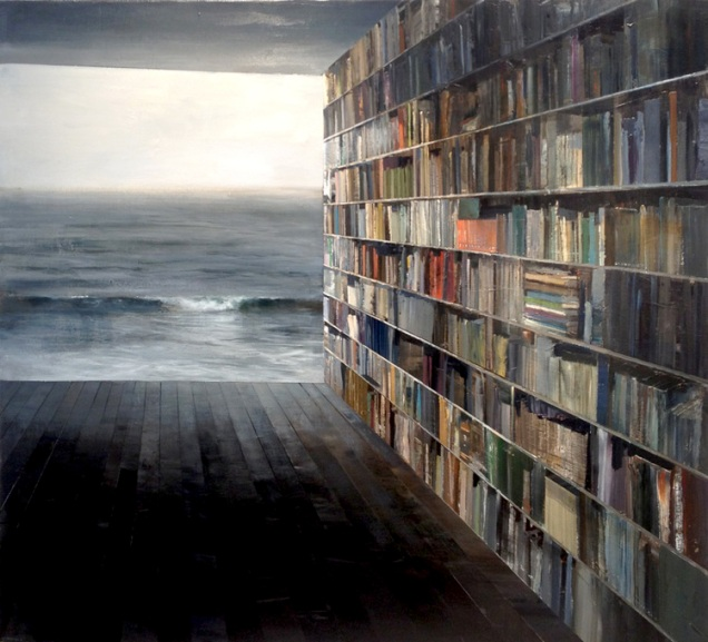 library with grey sea
